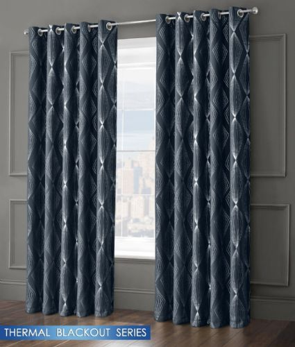 GEOMETRIC AZTEC LIVINGROOM BEDROOM THERMAL BLACKOUT RING TOP EYELET CURTAINS NAVY